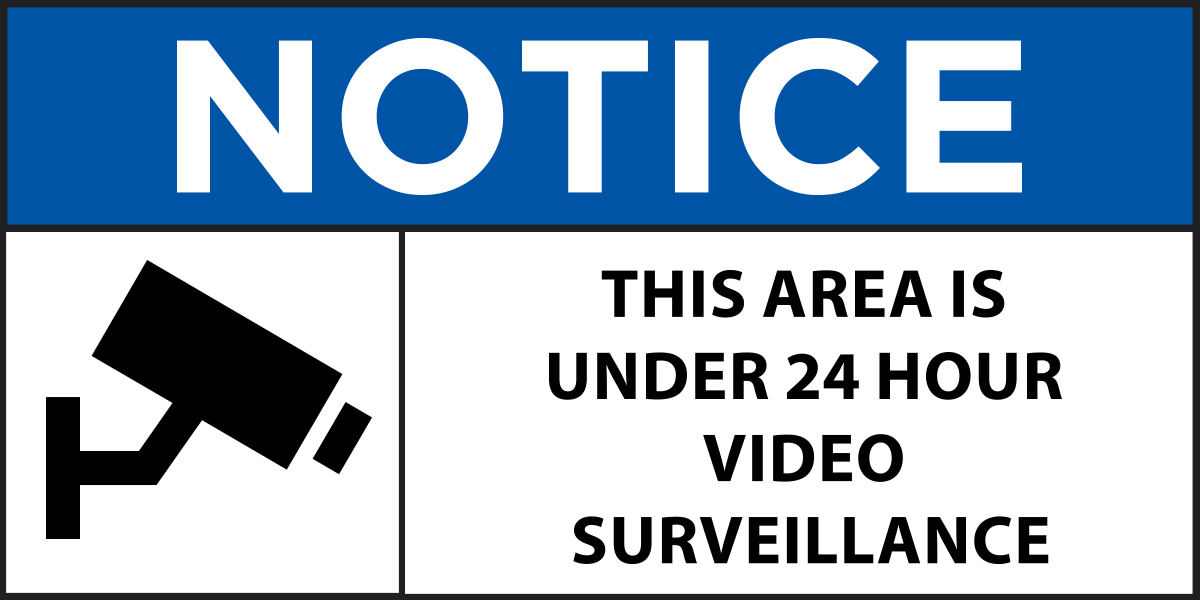 Notice showing that area is under video surveillance - GDPR compliance