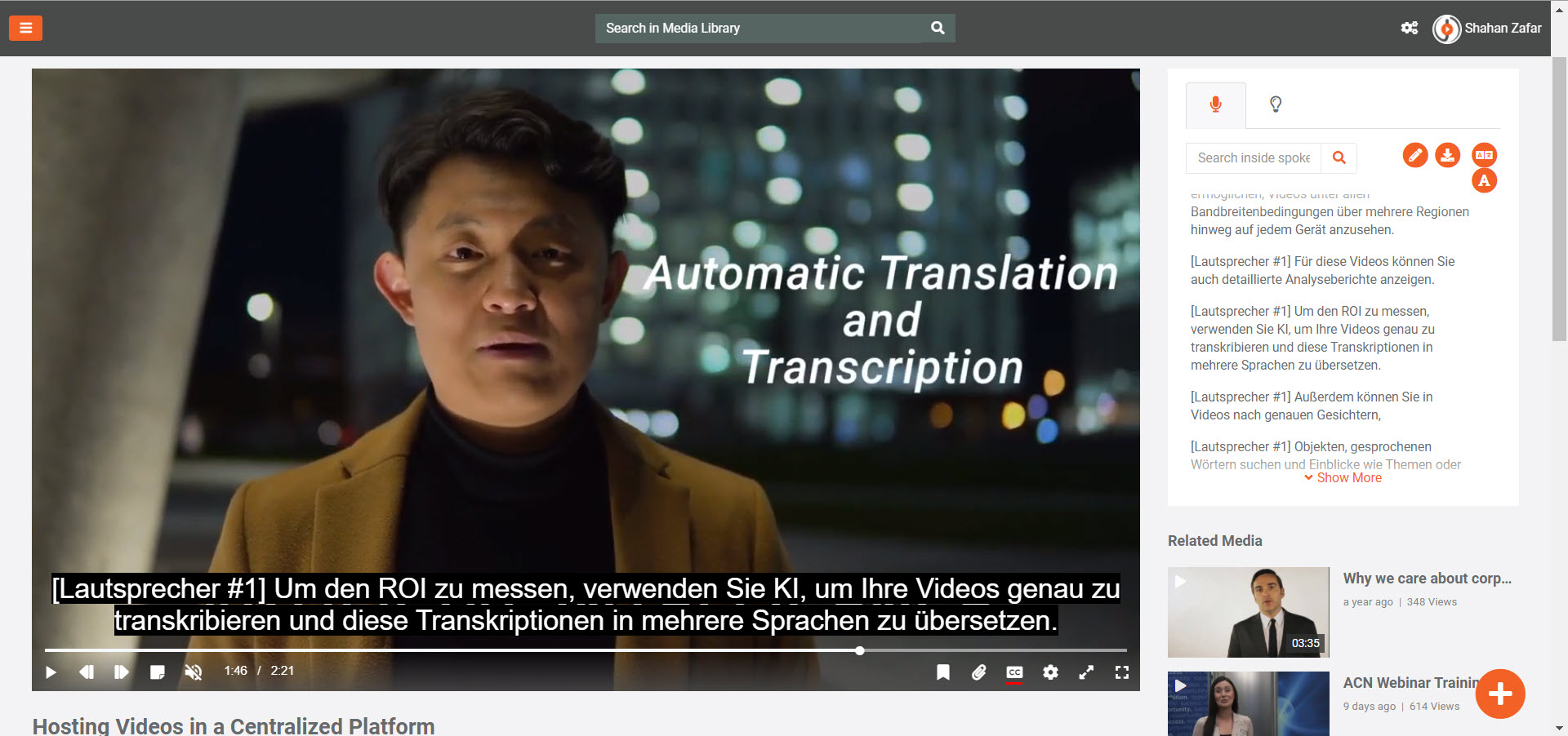 A screenshot of VIDIZMO player showing translated subtitles and transcript