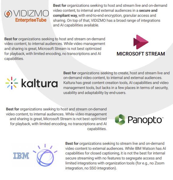 Video Platforms Summary Infographic