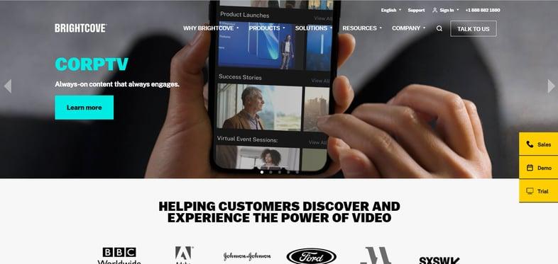 A screenshot of Brightcove