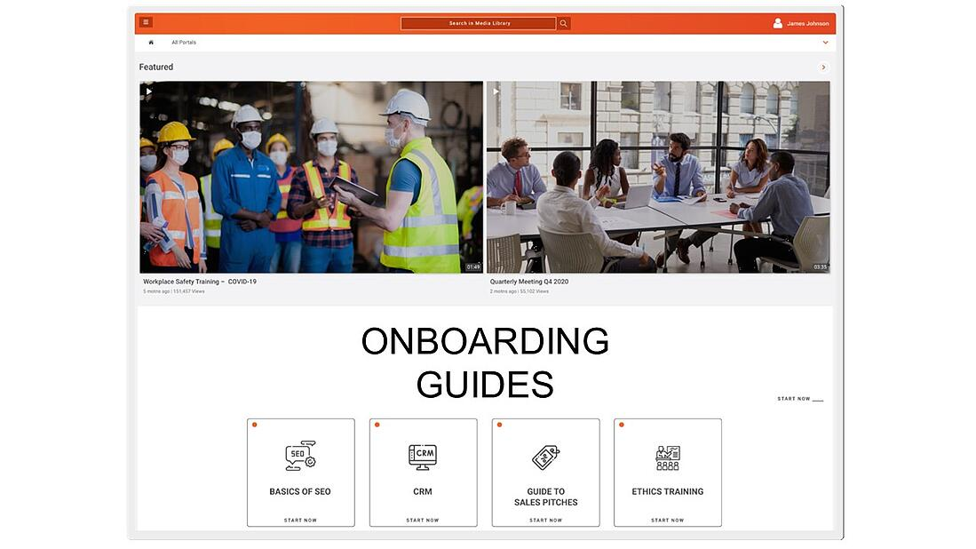VIDIZMO's training and learning portal to assist in reducing onboarding process time length.