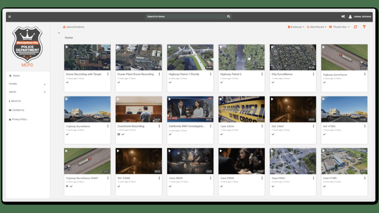 A screenshot of VIDIZMO Digital Evidence Management System