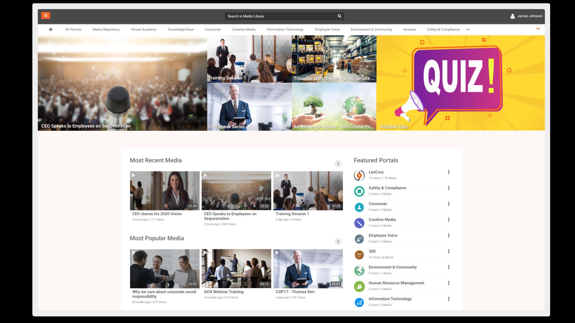 VIDIZMO custom brandable video portal template