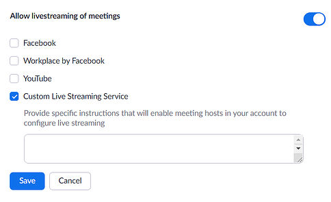 Enable Custom Live Streaming Service