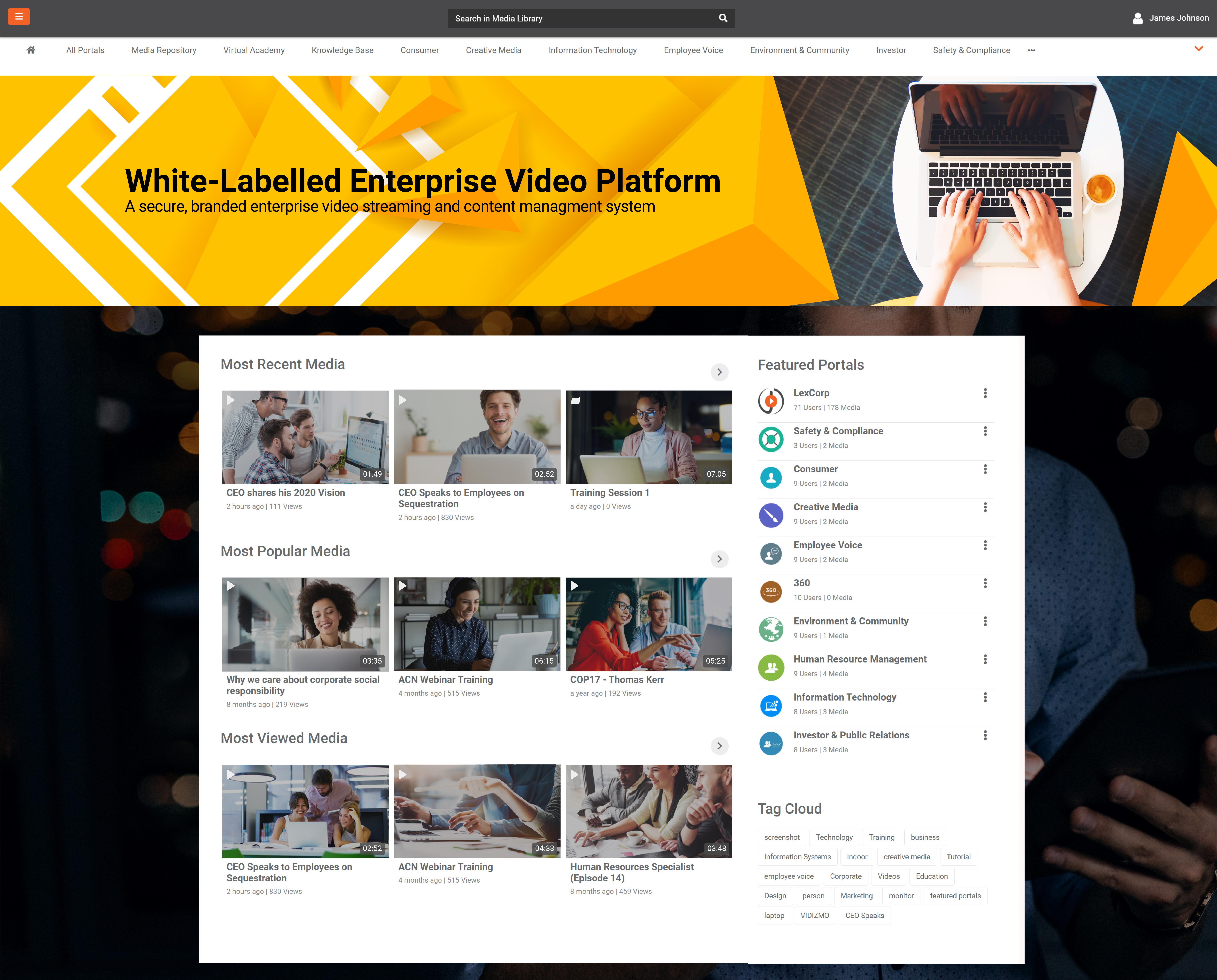 A screenshot of Enterprise Video Platform