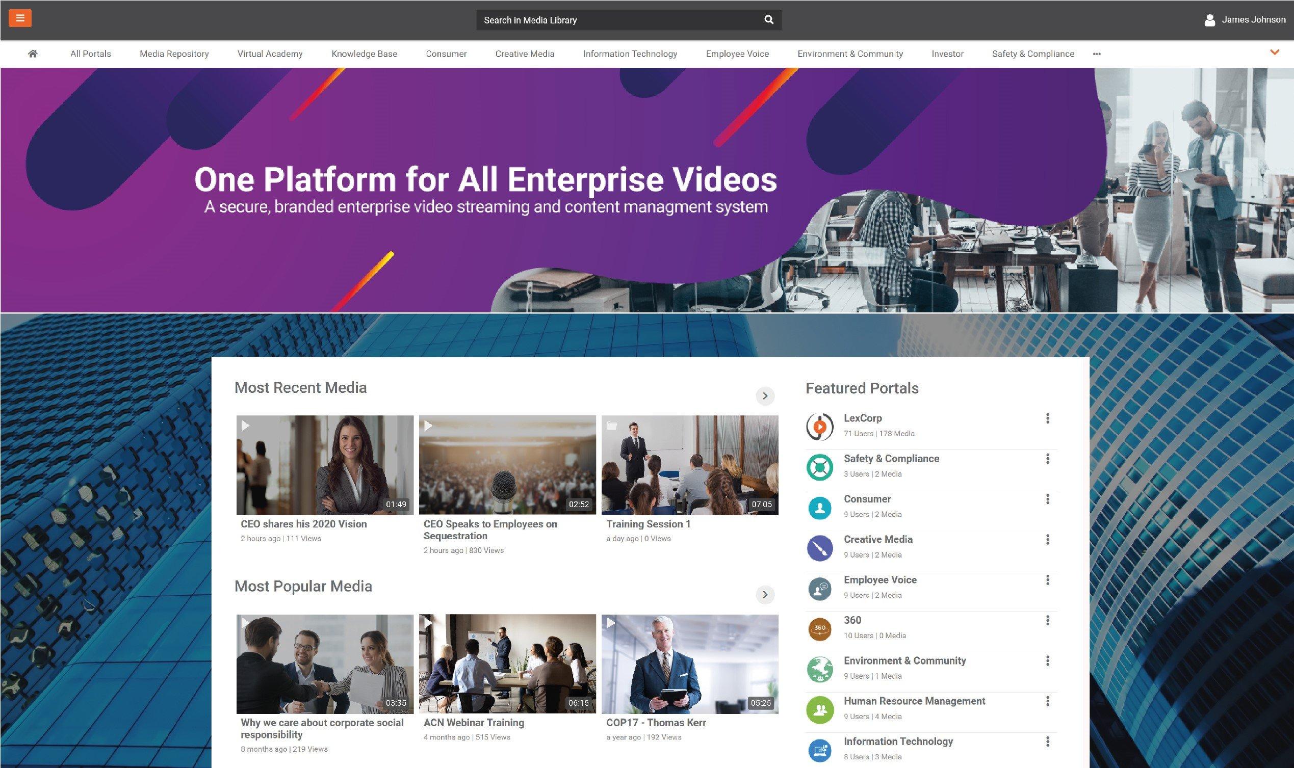 End-to-end brandable enterprise video platform
