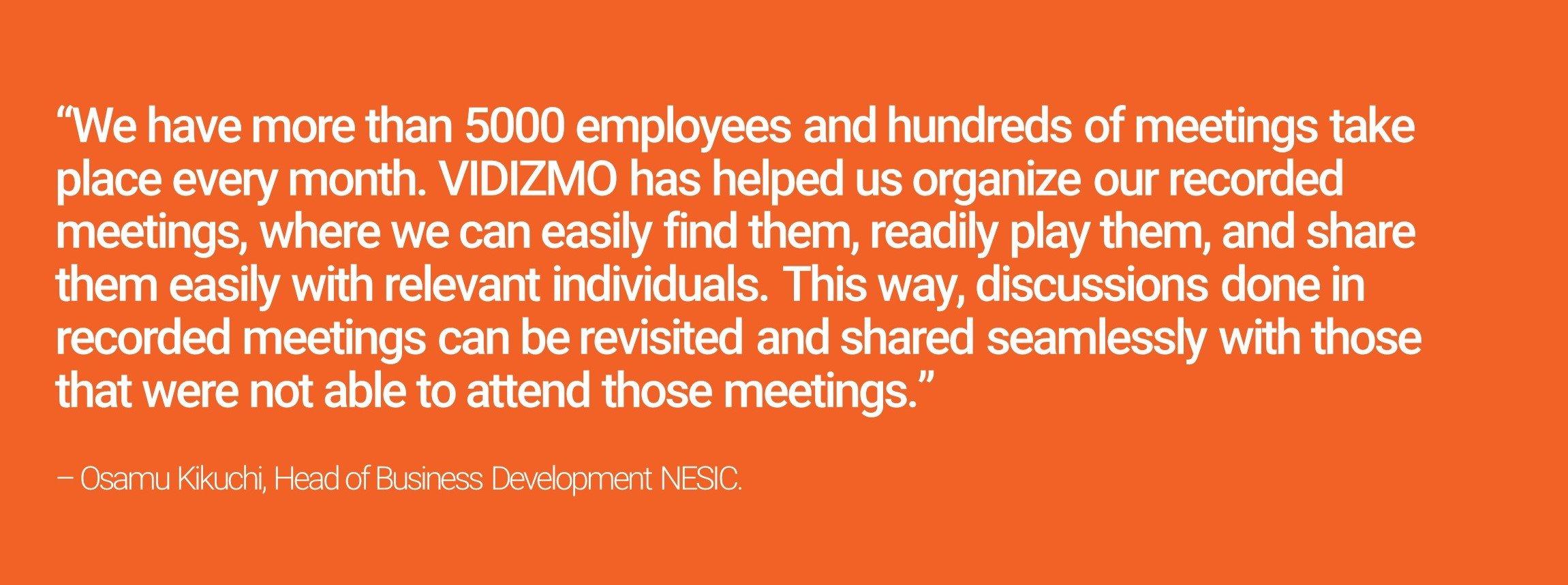 Quote by NEC on VIDIZMO Video Platform