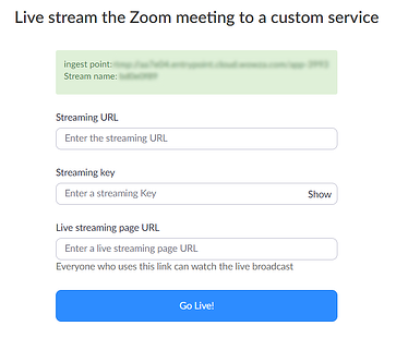 Streaming URL and Streaming Key from Zoom