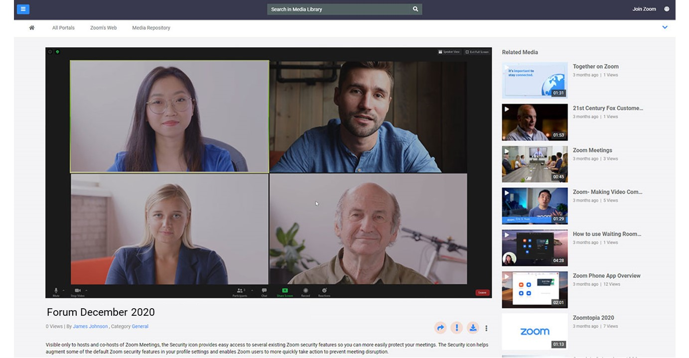 A public portal to show recorded Zoom meetings to public audience