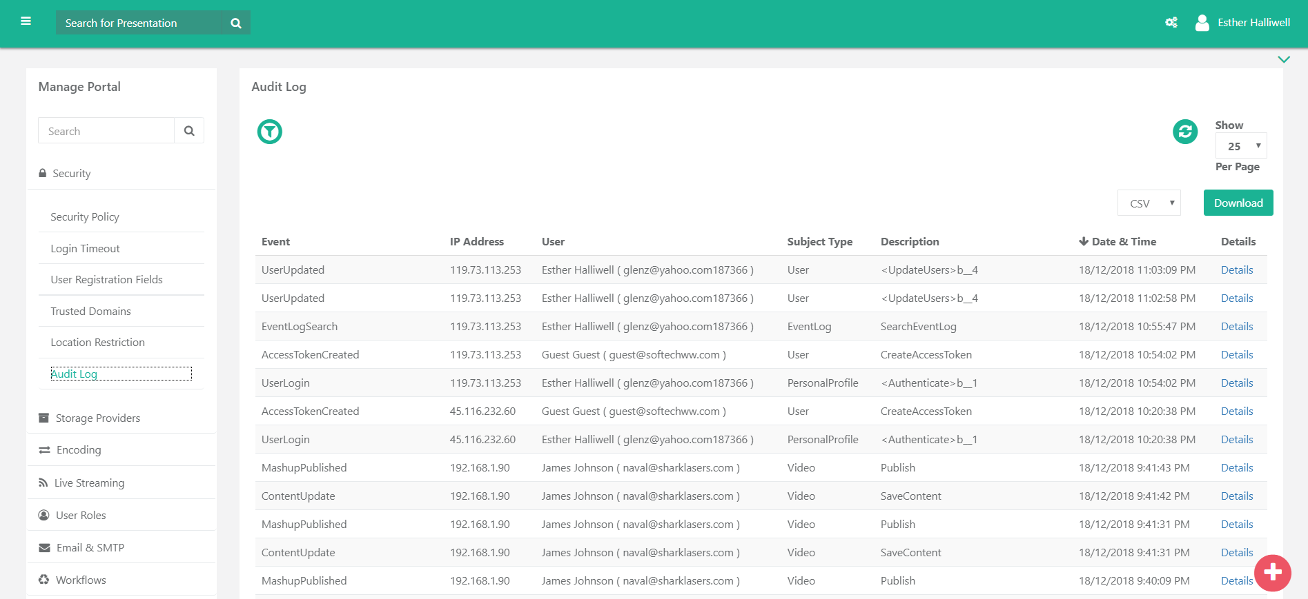 vidizmo-audit-log-screenshot