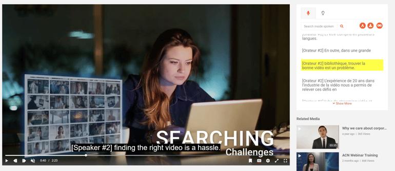 A screenshot of video transcription