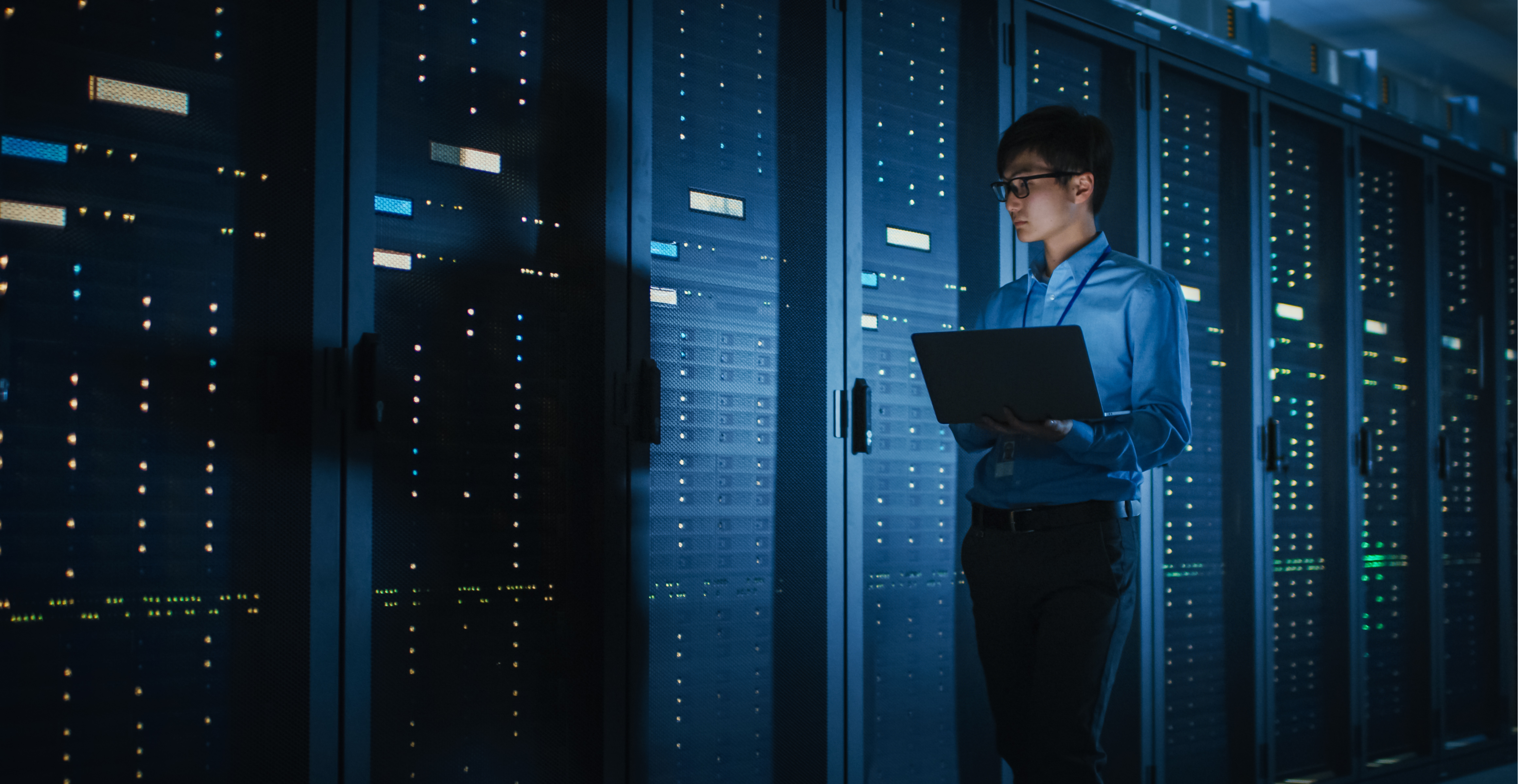 A woman in cloud data center