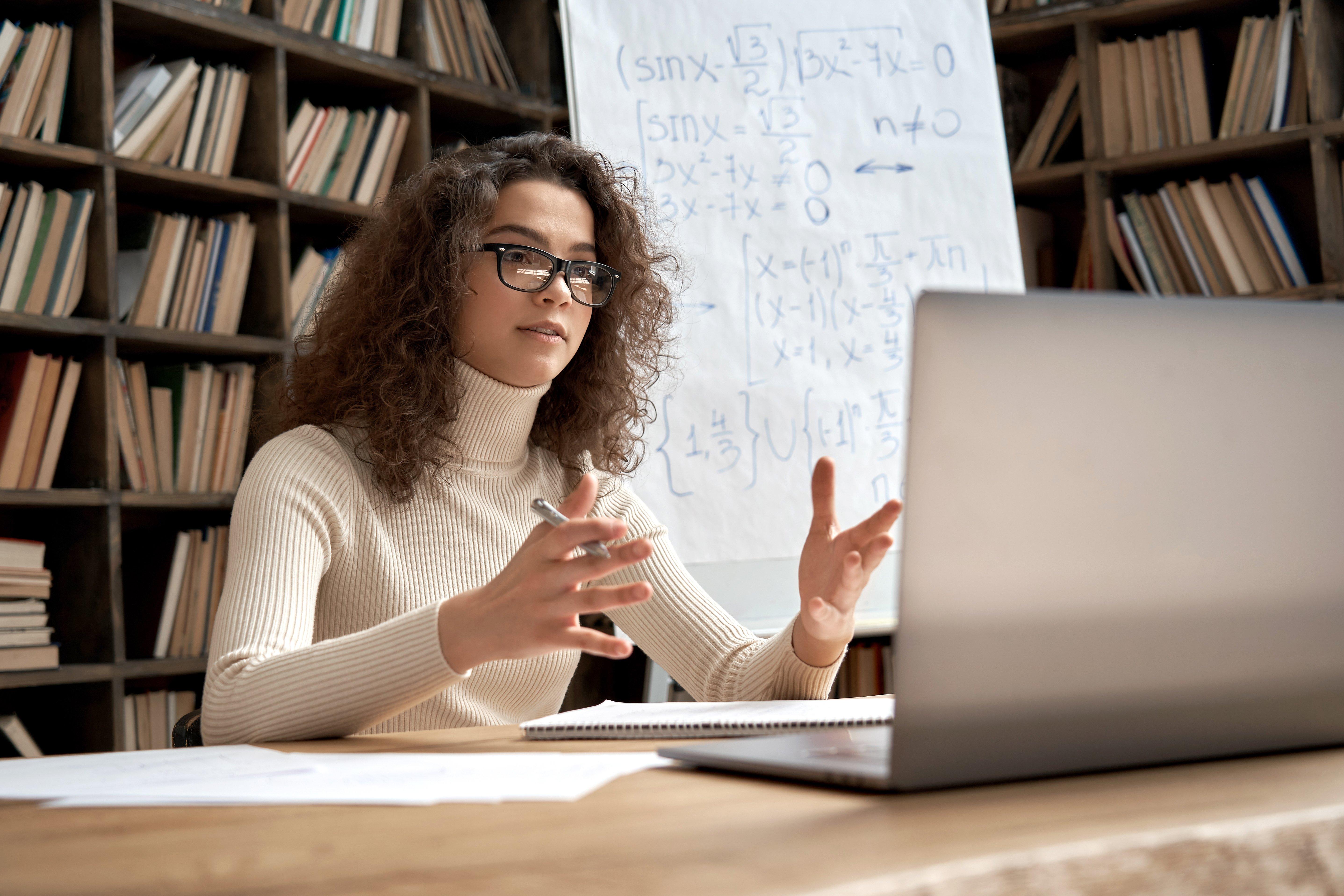 Teacher conducting a virtual class