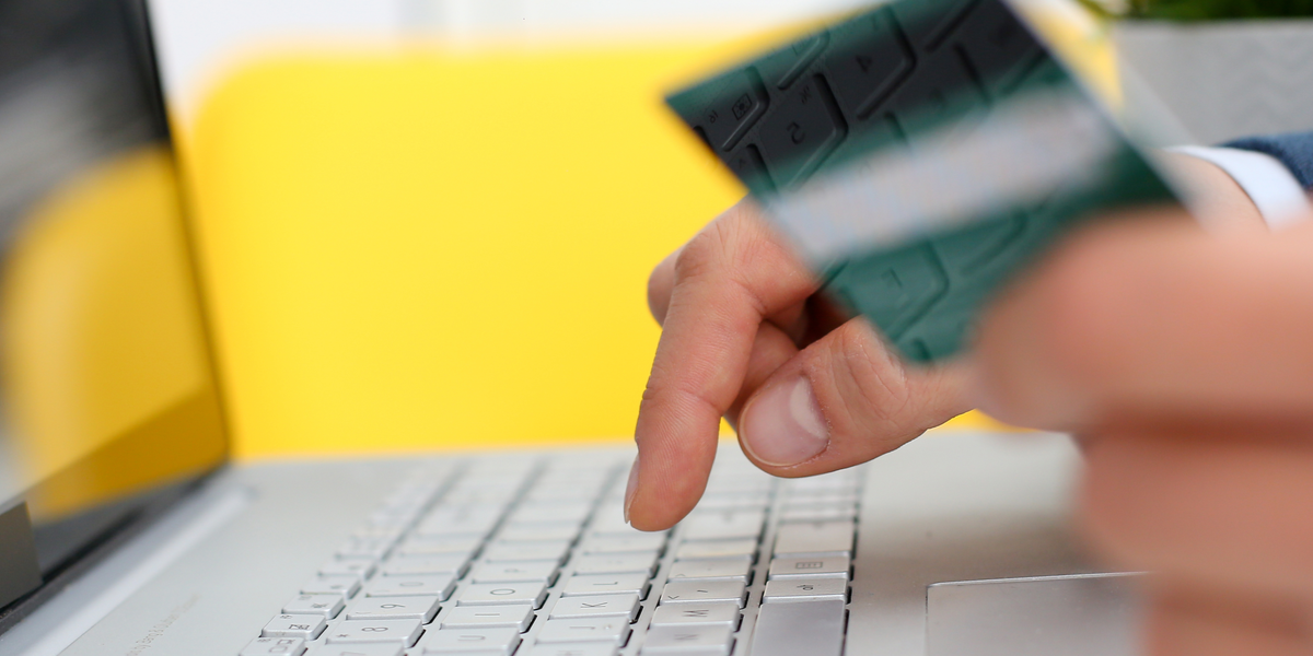 A person using credit card