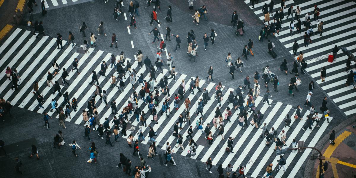 Footage of People Crossing the Street