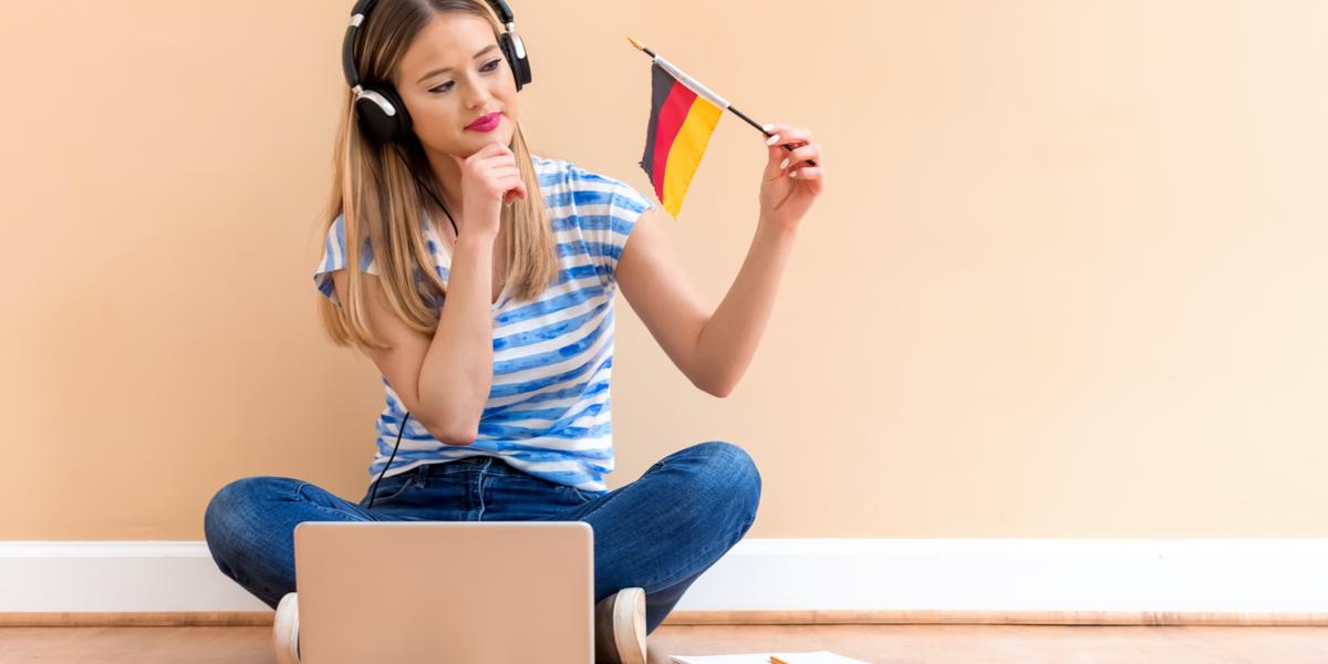 A woman waving the German flag