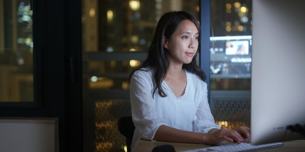 An employee watching a private internal video