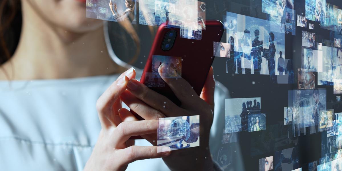 A woman using a video distribution platform