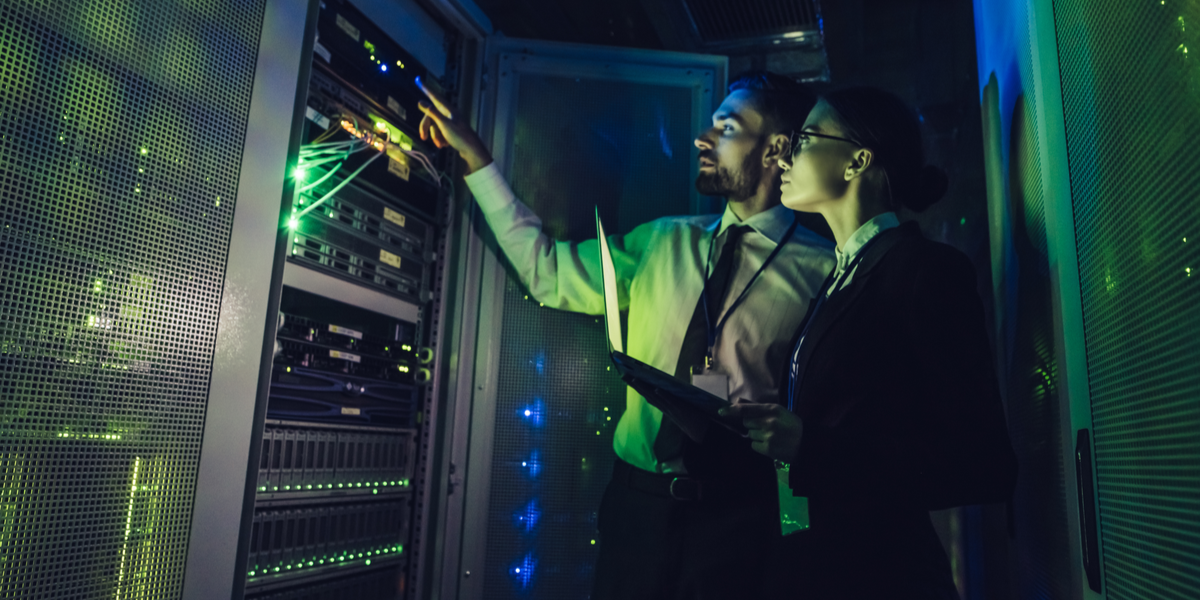 A man and woman in datacenter storage